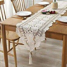 Rechteck Tischläufer, Beige Cotton Lace