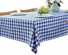 Rechteckige Tischdecke aus Leinen, Raster-Design,