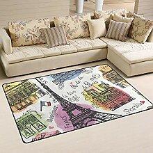 Rechteckiger Teppich mit durchsichtiger Türmatte