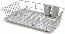 Rechteckiges Abtropfgitter Abtropfgestell mit Abtropfschale für die Küchenspüle zum Trocknen von Gläsern, Besteck und Schüsseln, Edelstahl (1#)