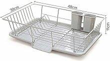 Rechteckiges Abtropfgitter Abtropfgestell mit Abtropfschale für die Küchenspüle zum Trocknen von Gläsern, Besteck und Schüsseln, Edelstahl (2#)