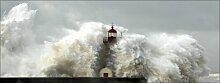 Rechteckiges Glasbild Wave & Lighthouse, Fotodruck