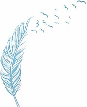 Rechts fliegende Feder Wandaufkleber Hause Dekor Hause Dekoration Tapeten Wandaufkleber blau