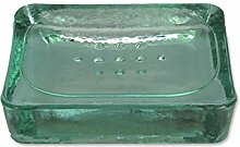 Recyceltem Glas Seifenschale–blickdicht grün/türkis Glas Seifenschale–12,5cm