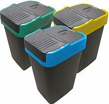 Recycling Behälter | 3 Schwingdeckel-Mülleimer