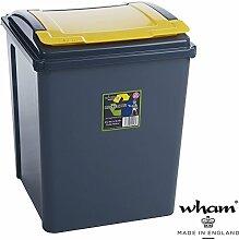 Recyclingtonne, Deckel abnehmbar, 40x40 cm, 50 L, graphit-gelb: Mülleimer 50 Liter Abfalleimer Deckel Eimer Papierkorb Abfallsammler Rycycling