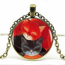 Red Black Sleeping Cat Anhänger Halskette
