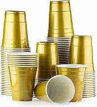 Red Celebration Gold Cups 100 Pack Golden bechern