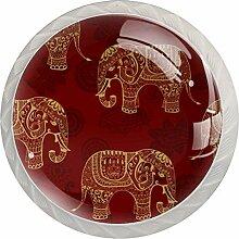 Red Elephant Set mit 4 handgefertigten Knäufen |