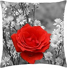 "Red Flower - Throw Pillow Cover Case (18"" x 18"")"