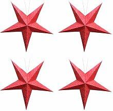 Red gestickte Batik Papierlampe Sterne für Innendekoration (Set von 4)
