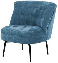 Red Living Sessel Jonas - Samt - Vintage Blau