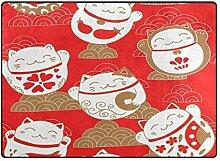 Red Lucky Cats Pattern Teppich für Wohnzimmer