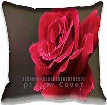 Red Rose Flower Macro Pillow Case Sofa Waist Throw Cushion Cover Home D¨¦cor 18x18(2 Sides)
