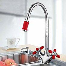 Red Tall Flexible Küchenarmatur Waschbecken