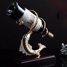 Red Wine Rack Bügeleisen kreative Red Wine Rack Eisen HOLZ WEINREGAL Schwingen - chic Wein Kleiderbügel, gold