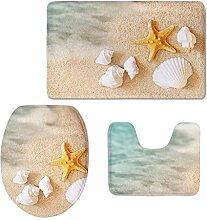RedBeans Badteppich-Set, Beach, Seestern, Muschel,