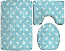 RedBeans Badteppich-Set mit Kaninchen und Punkten,