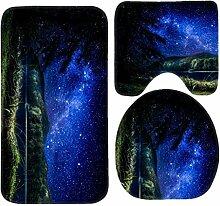 RedBeans Badvorleger-Set mit Nachtbäumen, Stern,