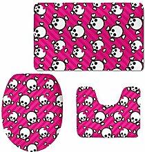 RedBeans Cute Pink Totenkopf Rutschfeste Badematte