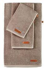 RedOwlHome Handtuch Set (3-teilig), Sauna Handtücher - Badetuch 70x140 cm Duschtuch 40x80 cm und Handtuch 35x35 (grau - braun)