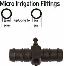 Reduzierstück, T-Stück für Bewässerungsrohr, 13 mm (ID) auf 4 mm (ID)