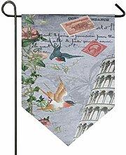 REFFW Gartenfahne Vogel schiefen Turm von Pisa