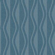 Reflections 5908 Vlies-Tapete Retro geometrische Rauten und Wellen in blau und dunkelblau
