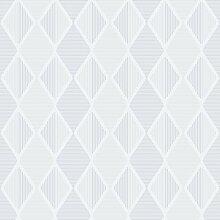 Reflections 5909 Vlies-Tapete Retro geometrische Rauten aus Linien in zartgrau und hellgrau auf weiß