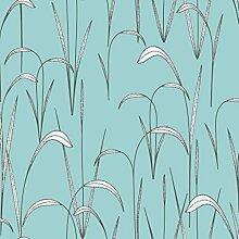 Reflections 5917 Vlies-Tapete fein gezeichnete Schilfgras Pflanzen in schwarz, weiß und grau auf hellblau