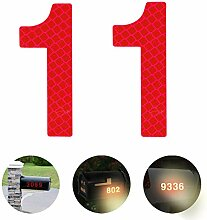 Reflektierende Hausnummer 1 aus Edelstahl, 7cm