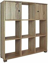 Regal 9 Fächer und 2 Türen Holz - Sonoma Eiche -