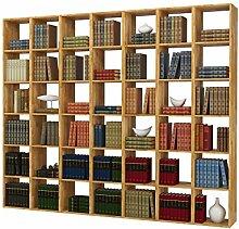 Regal, Bücherregal, Hoch Bücherregale, hohes Bücherregale, Bibliothek COMFORT mit offenen Fächer, Eiche massiv, geölt (252x213)