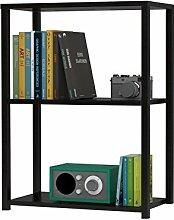 Regal Bücherregal Wohnregal Standregal Mehrzweckregal DANKE 60 x 29 x 79 cm, 2 Fächer, schwarz