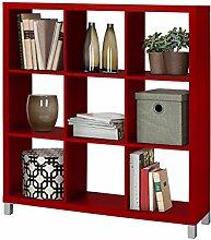 Regal, Bücherregale, Raumteiler KNOX aus FSC Holzwerkstoff mit 4, 6, 8, 9, 16 Fächer in 5 Farben: schwarz, weiß, rot, grün, Buche zur Auswahl (9 Fächer, rot)