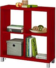 Regal, Bücherregale, Raumteiler KNOX aus FSC Holzwerkstoff mit 4, 6, 8, 9, 16 Fächer in 5 Farben: schwarz, weiß, rot, grün, Buche zur Auswahl (4 Fächer, rot)
