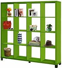 Regal, Bücherregale, Raumteiler KNOX mit 6, 8, 16 Fächer in 5 Farben: schwarz, weiß, rot, grün, Buche zur Auswahl (16 Fächer, Grün)