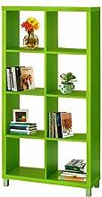 Regal, Bücherregale, Raumteiler KNOX mit 6, 8, 16 Fächer in 5 Farben: schwarz, weiß, rot, grün, Buche zur Auswahl (8 Fächer, Grün)