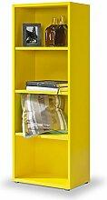 Regal gelb, Click System: keine Schrauben und Dübel, Bücherregal gelb, zitronengelb, 3 EB