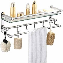 Regal Handtuchhalter Glas mit Aluminiumschiene Bad