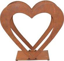 Regal Herzilein, für Holz, aus Eisen mit rostiger