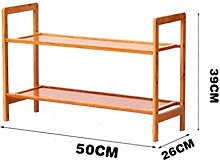 Regal im Wohnzimmer Schlafzimmer Küche 2 Etagen Schuh-Rack Massivholz Einfache Lagerung Schrank Möbel Bambus Organizer Regale Dekoration Rack YYJRR-Eckregale