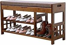 Regal im Wohnzimmer Schlafzimmer Küche 2 Tier Change Schuh Hocker Bambus Retro Boot Storage Staubdicht Hallway Schuhbank mit Sitzkissen für 8 Paare Dekoration Rack YYJRR-Eckregale
