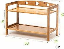 Regal im Wohnzimmer Schlafzimmer Küche 2 Tier Schuh-Rack Hölzerne Lagerung Schrank Möbel Bambus Regal Einheit Schuh Veranstalter Halten Stand für 4 Paare, (L) 50x (D) 26x (H) 38 Cm Dekoration Rack YYJRR-Eckregale