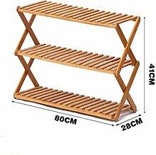 Regal im Wohnzimmer Schlafzimmer Küche 3 Tier Schuh Rack Massivholz Einfache Lagerung Schrank Möbel Bambus Organizer Regale Foldable Dekoration Rack YYJRR-Eckregale ( größe : 80cm )