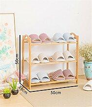 Regal im Wohnzimmer Schlafzimmer Küche 3 Tier Schuh Rack Massivholz Einfache Lagerung Schrank Möbel Kreative Einfachheit Bambus Organizer Regale Dekoration Rack YYJRR-Eckregale ( größe : 50 cm )