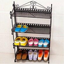 Regal im Wohnzimmer Schlafzimmer Küche 4 Tier Eisen Schuh Rack Einfache kreative Schuhe Regale Dekoration Rack YYJRR-Eckregale ( Farbe : Schwarz )