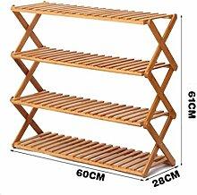 Regal im Wohnzimmer Schlafzimmer Küche 4 Tier Schuh Rack Massivholz Einfache Lagerung Schrank Möbel Bambus Organizer Regale Foldable Dekoration Rack YYJRR-Eckregale ( größe : 60 )