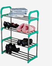 Regal im Wohnzimmer Schlafzimmer Küche 4 Tier Schuh Racks Einfache Lagerung Schrank Möbel Kreative Einfachheit Schuh Veranstalter Regale Edelstahl (grün) Dekoration Rack YYJRR-Eckregale