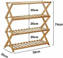 Regal im Wohnzimmer Schlafzimmer Küche Bamboo Einfache Schuh - Rack Modern Einfache Multi - Layer - Staub - Beweis Solid Wood Schuh - Racks Dekoration Rack YYJRR-Eckregale ( größe : 74cm )